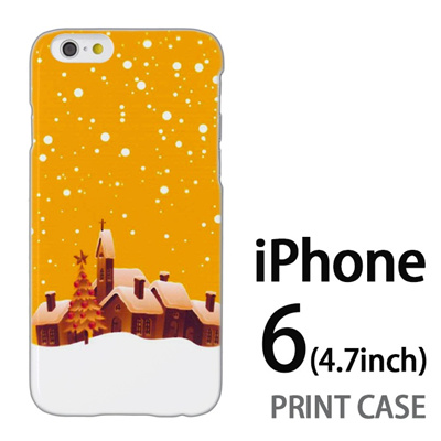 iPhone6 (4.7インチ) 用『1222 雪降る町 黄』特殊印刷ケース【 iphone6 iphone アイフォン アイフォン6 au docomo softbank Apple ケース プリント カバー スマホケース スマホカバー 】の画像