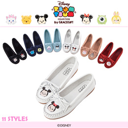 ♥New Arrival♥Gracegift-Disney TsumTsum Leather Tassel Embroidered Moccasins/Women Shoes
