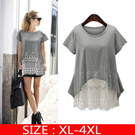 2016 summer new European style large size women lace stitching long sleeved T-shirt