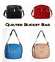 *Latest Design* MG TWIST LOCK QUILTED BUCKET / SHOULDER / CROSS BODY BAG [4 Color Options : Black Blue Beige Red]