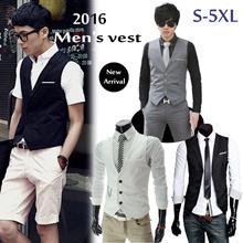 【christmas promotion】 2016 new arriva men fashion dress Suit Vests Business Leisure Vest Plus Size S~5XL