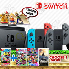 [GameWerks] Nintendo Switch with Gray/Neon Joy-Con Bundle with 2 Games(ARMS and Game of Another Choi