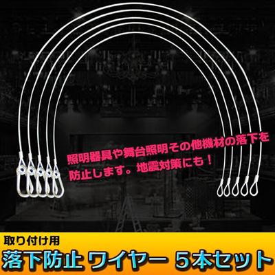 【レビュー記載で送料無料!】 落下防止 ワイヤー 5本セット 舞台照明 機材落下 防止 地震対策の画像