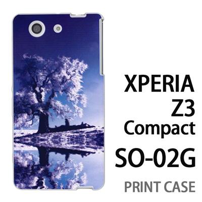 XPERIA Z3 Compact SO-02G 用『1218 雪原の木』特殊印刷ケース【 xperia z3 compact so-02g so02g SO02G xperiaz3 エクスペリア エクスペリアz3 コンパクト docomo ケース プリント カバー スマホケース スマホカバー】の画像