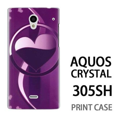 AQUOS CRYSTAL 305SH 用『No3 サークルハート紫』特殊印刷ケース【 aquos crystal 305sh アクオス クリスタル アクオスクリスタル softbank ケース プリント カバー スマホケース スマホカバー 】の画像