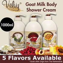 FREE SHIPPING LIMITED PERIOD! [1000ML!](5 TYPES) Velvy Goat Milk Fusion Body Shower Cream 1000ML eac