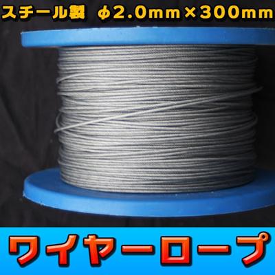 【レビュー記載で送料無料!】  ワイヤーロープ  φ2.0mm×300m スチール製の画像