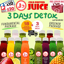 NS50 Special: J3 Cold Pressed Juice - 3 Days Juice Cleanse (18 Bottles 350ml Cold Pressed Juices + 3 Bottle of Nut Milk) + Special Promo: Buy 1 Honey Fizz get 2 FREE !!! Free Delivery !!!