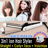 [100% Quality Assured] New Generation 3in1 Ion Multi-Hair Styler/Curler/Straighten/Taco Wave/Volumize Free travel adapter