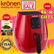 【KRONEN HEALTHY AIR FRYER】6 X FREE GIFTS ❤FREE BAKING TRAY❤FULL COLOUR RECIPE BOOK AND MORE❤LOWEST PRICE IN SINGAPORE❤LOCAL WARRANTY❤