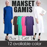 [Buy1Get1] BASIC MANSET GAMIS-PREMIUM QUALITY-FASHION TSHIRT / Baju gamis busana muslim pakaian wanita muslim fashion