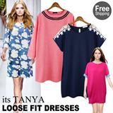★Free Shipping From Korea★Best Loose fit Dresses /★Plus size★ Unique Check Pattern Plus Size Flower Print Ribbon denim Stripe Dot Dresses