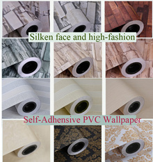 The cheapest Self-Adhensive PVC Wallpaper--Silken face and high-fashion (no need glue)/0.6SQM