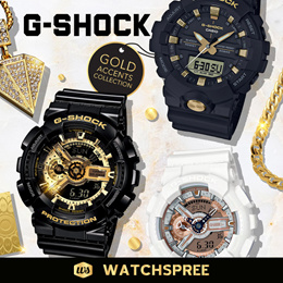 G-Shock Gold Accents Collection. Free Shipping and 1 Year Warranty.
