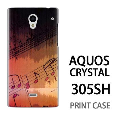 AQUOS CRYSTAL 305SH 用『No3 楽譜』特殊印刷ケース【 aquos crystal 305sh アクオス クリスタル アクオスクリスタル softbank ケース プリント カバー スマホケース スマホカバー 】の画像