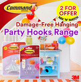 [Official E-Store] Command™ Party - Balloon Bunchers / Banner Anchors / Ceiling Hooks / Spring Clips / Mounting Strips - Non-Permanent / Removable / No Wall Damage