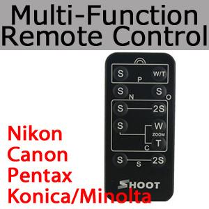 【送料無料】5in1リモコン Canon(キャノン) Nikon(ニコン)  Pentax(ペンタックス)  Konica/Minolta(コニカ/ミノルタ) 互換リモートコントローラー無線リモートシャッター Multi-functional Shutter Cordless Remote Controllerの画像
