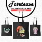 ★NEW DESIGNS BLACK TOTES COLLECTION by TOTETEASE★ 100% Cotton/Customize/Tote Bag/Canvas Totebag/Shoulder Bag/Recycle Bag/