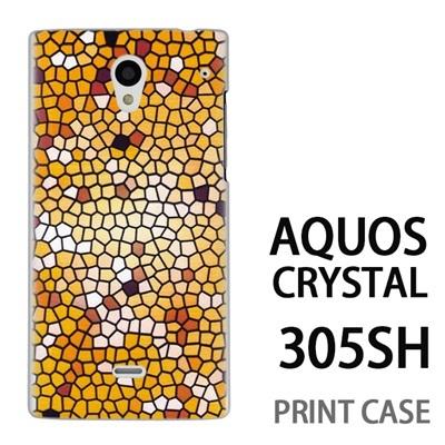 AQUOS CRYSTAL 305SH 用『No3 モザイクステンドグラス』特殊印刷ケース【 aquos crystal 305sh アクオス クリスタル アクオスクリスタル softbank ケース プリント カバー スマホケース スマホカバー 】の画像