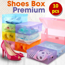 ID Get 10 pcs - MULTIPLE COLOR BOX TRANSPARENT SHOES BOX - BEST SELLER