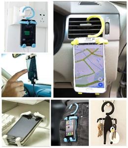 Flexible Silicon Phone Hanger / Universal Flexi Holder / All Mobile Phone Handphone / Multi purpose / Car / Office / Key Holder / Colourful / Cute / High Quality