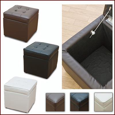 メーカ直送 収納付スツール PVCタイプ 収納ボックス スツール 椅子 イス 腰掛け PVC素材 m091056の画像