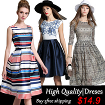 【25/10 Update】 Europe Korean high-end fashion dress in the spring and autumn and summer lady elegant dress European style British style and size / S-3XL dress