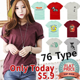 Only Today $5.90! Flat price! [Seven Days]★Free shipping!!!★KOREA MEGA HIT 88% OFF★ [Top Shop] women fashion women clothing Plus Size T-Shirts Over 100 Style Customer Satisfaction CNY