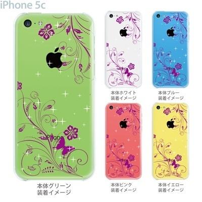 【iPhone5c】【iPhone5cケース】【iPhone5cカバー】【ケース】【カバー】【スマホケース】【クリアケース】【フラワー】【花と蝶】 22-ip5cp-ca0067の画像