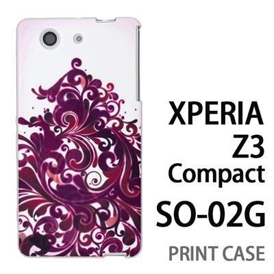 XPERIA Z3 Compact SO-02G 用『1219 海草ツリー 赤紫』特殊印刷ケース【 xperia z3 compact so-02g so02g SO02G xperiaz3 エクスペリア エクスペリアz3 コンパクト docomo ケース プリント カバー スマホケース スマホカバー】の画像