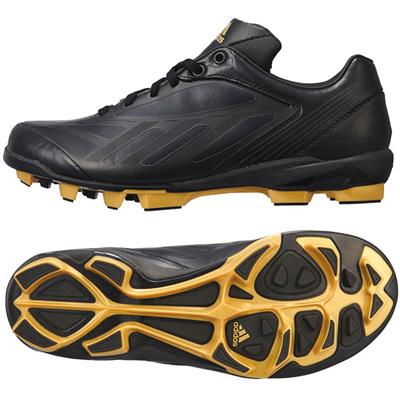 アディダス (adidas) ジュニア adizero TPU low 3 K(ブラック×ブラック×メタリックゴールド) G66882 [分類:野球 ポイントスパイク] 送料無料の画像