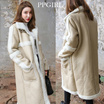 PPGIRL_8684 暖かくてリッチな着こなしに♡ムートンコート / ムートン/ ロングムートン/ロングコート / アウター / ロングアウター/Maxi shearing long coat / faux leather coat / over fit / faux fur coat / long coat /