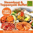 Taiwan Style Steamboat and Teppanyaki Buffet. Over 160 items. Free flow drinks and dessert. Valid daily at HillV2. Grab yours now!