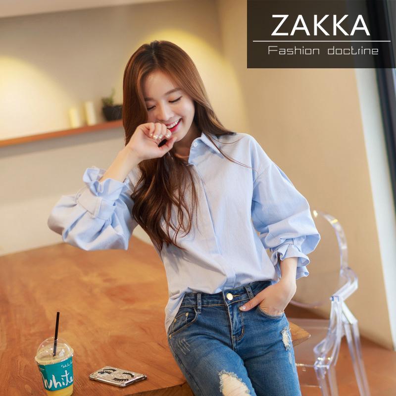 【送料無料】【即納】 人気 新型 ZAKKA 2016 韓国ファッション パフスリーブシャツ ショートシャツ ロングシャツ 長袖シャツ 韓国 シャツ レディース