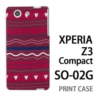 XPERIA Z3 Compact SO-02G 用『1220 ハートストライプ 赤』特殊印刷ケース【 xperia z3 compact so-02g so02g SO02G xperiaz3 エクスペリア エクスペリアz3 コンパクト docomo ケース プリント カバー スマホケース スマホカバー】の画像