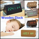 Newly Modern Styles Wooden Clock Temperature Sounds Control LED Wooden Clocks Digital Table Clocks Rectangle Triangle Two Styles