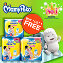[Unicharm] 【BUY 1 GET 1 FREE】 MAMYPOKO EASY FIT PANTS! Quality leak-proof fresh-smelling and gentle on the skin/Easy to put on making it convenient and comfortable. Jumbo M and Super Jumbo M/ XL