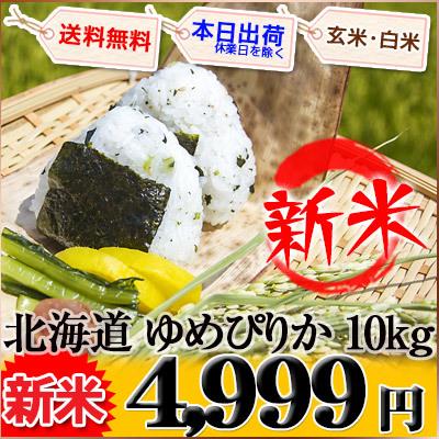北海道 新米 白米か玄米 1等米 ゆめぴりか 5kg×2袋 平成27年度産の画像