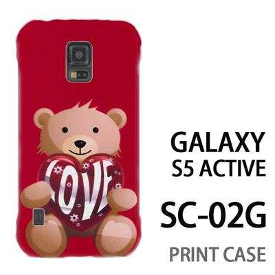 GALAXY S5 Active SC-02G 用『0113 愛を抱えるクマ 赤』特殊印刷ケース【 galaxy s5 active SC-02G sc02g SC02G galaxys5 ギャラクシー ギャラクシーs5 アクティブ docomo ケース プリント カバー スマホケース スマホカバー】の画像
