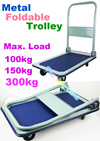 Metal Foldable Trolley Hand Truck 100/150/300kg Load- Compact and easy to store  transporting goods
