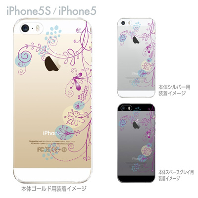 【iPhone5S】【iPhone5】【iPhone5sケース】【iPhone5ケース】【カバー】【スマホケース】【クリアケース】【フラワー】【花と蝶】 22-ip5s-ca0027の画像