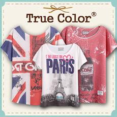 Design By Korea True Color Short sleeved T-shirt Unique printing High quality cotton Women T-shirt