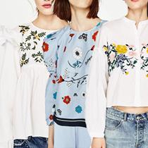 【安心国内発送】【即納】新品/送料無料 かわいい 花柄刺繍 シャツ ブラウス 上着 トップス レディース 長袖シャツ ブラウス/レディースファッションシャツ