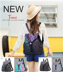Shining Backpack Women Leather Geometric Backpacks Diamond Lattice Backpack Travel Girls Casual Day