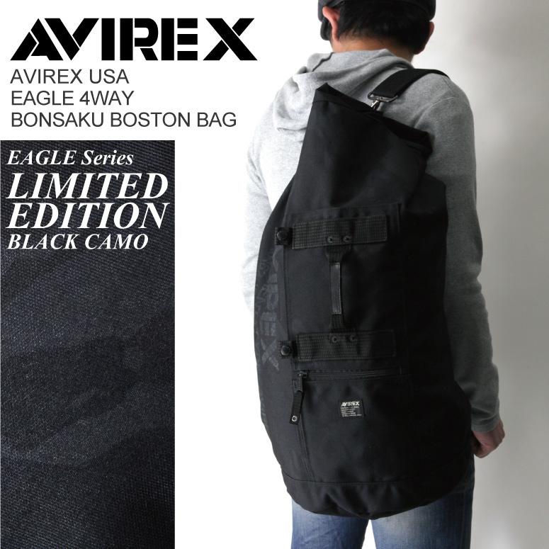 【クリックで詳細表示】AVIREX/アビレックス/avirex/アヴィレックス・イーグルシリーズ リミテッドエディション「ボンサック・ボストン」ブラックカモ ショルダーバッグ