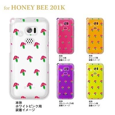 【HONEY BEE ケース】【201K】【Soft Bank】【カバー】【スマホケース】【クリアケース】【Clear Arts】【ピンクきのこ】 22-201k-ca0017の画像