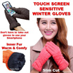 Touch Screen Sensitive Ladies Winter Gloves/ Smart Touch/ Slim cutting/ Elegant and stylish with Inner soft fur to keep you warm/ Smartphone gloves / Winter accessories/
