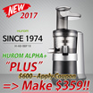 ★MAKE$359!!★MAY.2017 NEW★ HUROM Premium Slow Juicer ALPHA PLUS H-AB-BBF19 Smoothie Maker BPA-FREE