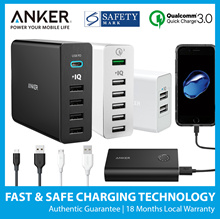 Anker USB Charger 6 Port Sport Earbuds USB Lightning Cable Car Charger 100% Authentic Free Delivery
