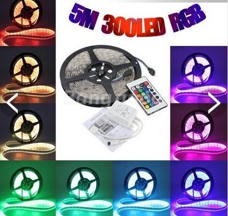 【クリックで詳細表示】5M 5050 RGB Waterproof 300 LED Strip Light 12V DC 24 Key IR Controller